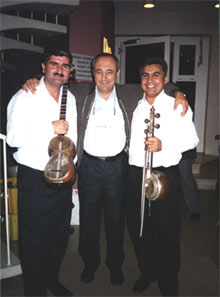 "With tar-player Elchin Nagiev and kiamancha-player Elshan Mansurov after the premiere of ""Babylon Tower"". Berliner Festspiele, Sept.13 2002"
