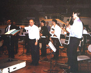 "Premiere of ""Babylon Tower"". With conductor Ed Spanjaard on the stage of Berliner Karajan Philharmonie Small hall, Sep.13 2002"