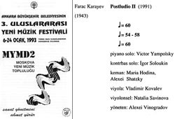 Performance in Turkey. 1993. Program